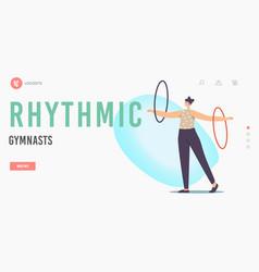 rhythmic gymnast landing page template female vector image
