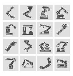 Robotic arm icons black vector