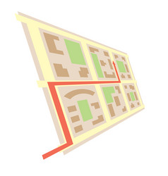 Rotated map in perspective and red arrow - city vector