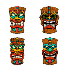 S t tiki tribal wooden mask design element vector