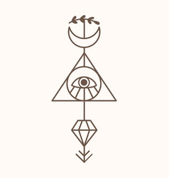 Sacred geometry mystic tattoo art vector
