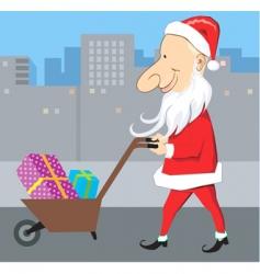 Santa and wheel barrow vector image