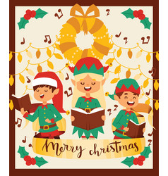 santa claus elf kids helpers vector image