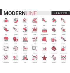 seafood for shop cafe restaurant flat line icon vector image