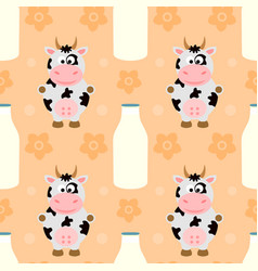 seamless background with funny cow vector image