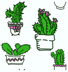 seamless pattern of drawn cactus vector image