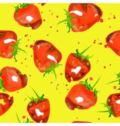 seamless pattern of watercolor strawberry vector image