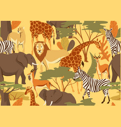 seamless pattern with african savanna animals vector image