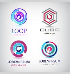 Set abstract colorful loop logos circle web vector
