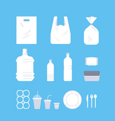 Set different disposable objects made plastic vector