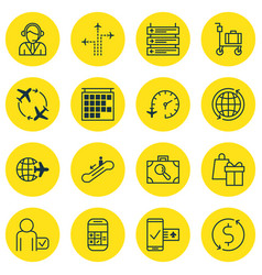 Set of 16 traveling icons includes shopping vector