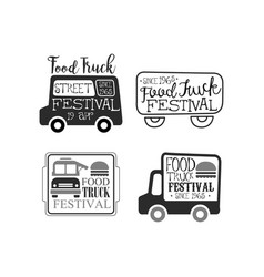 Set of monochrome food truck festival vector