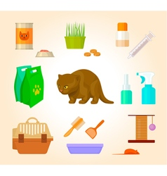 set of pet care goods vector image