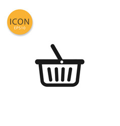 shopping basket icon isolated flat style vector image