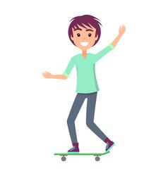 Skater waving hand smile vector