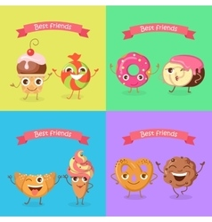 Smiling characters set funny sweets flat vector