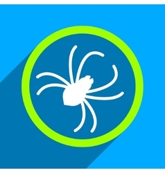 Spider Flat Square Icon with Long Shadow vector
