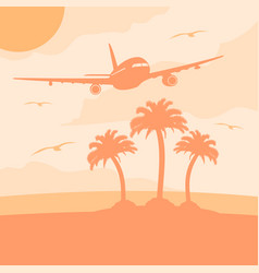 Summer background card with plane vector