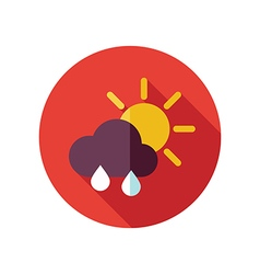 Sun rain cloud flat icon meteorology weather vector