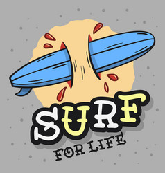 surfing surf themed with surfboard longboard ha vector image