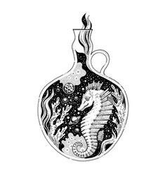 surreal tattoo sea horse animal design concept vector image
