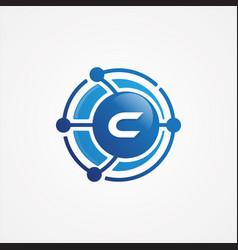 technology design orbit with letter c symbol vector image