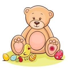 teddy and easter chicken with eggs vector image