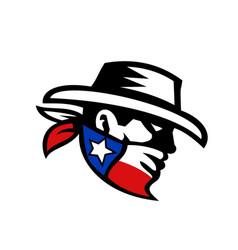 texas bandit cowboy side retro vector image