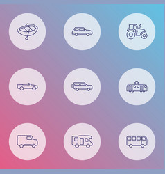 transit icons line style set with tractor city vector image