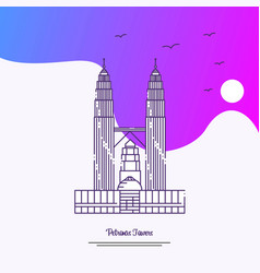 Travel petronas towers poster template purple vector
