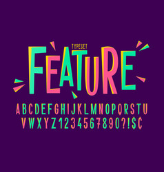 Trendy comical condensed font design colorful vector