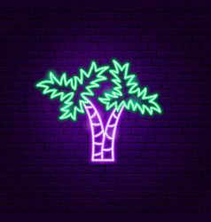 two palm trees neon label vector image