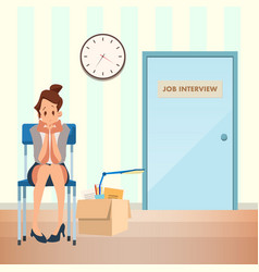 Unconfident woman wait job interview in corridor vector