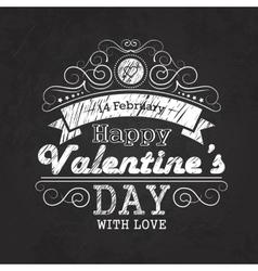 Valentines day emblem on blackboard vector image