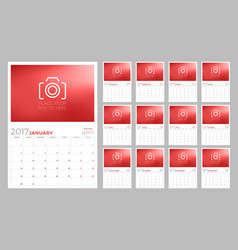 wall calendar planner template for 2017 year week vector image