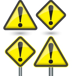 Warning sign with exclamation sign vector