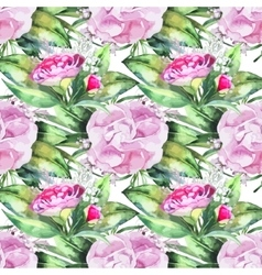 Watercolor camellia seamless pattern vector