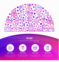 wine concept in half circle with thin line icons vector image