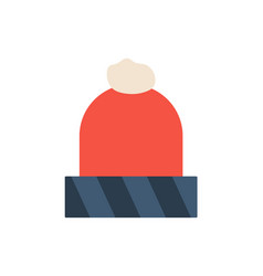 winter red hat icon flat cartoon style warm vector image