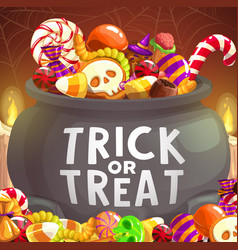 Witch cauldron halloween trick or treat candies vector