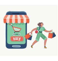 woman doing online shopping bag vector image