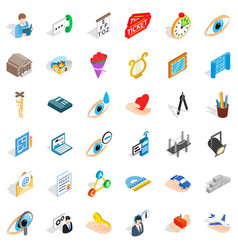 work space icons set isometric style vector image