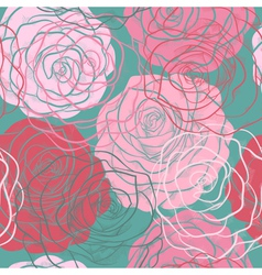 beautiful seamless pattern with roses hand-drawn vector image vector image