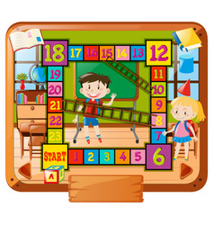 boardgame template with kids at school background vector image vector image