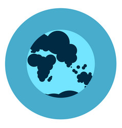 earth globe with map icon web button on round blue vector image