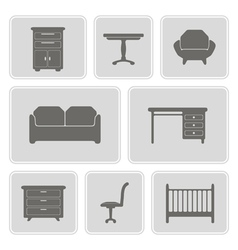 monochrome icons with furniture vector image vector image