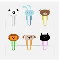 Paperclips set with animal heads Panda rabit dog vector image vector image