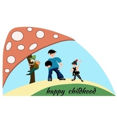 People boy children mushroom Happy childhood vector image
