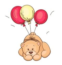 teddy bear and balloons vector image vector image