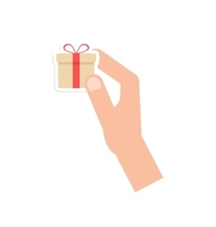 hand holding little gift box card vector image